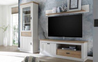 Nábytek do obývacího pokoje CLEVELAND I bílá/dub divoký