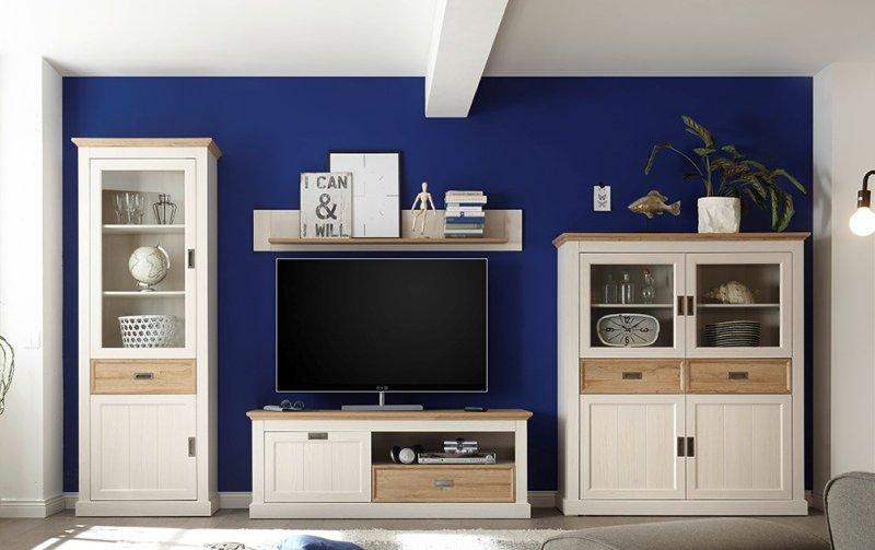 Nábytek do obývacího pokoje CLEVELAND II bílá/dub divoký