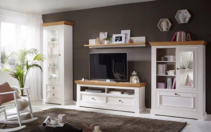 Nábytek do obývacího pokoje ve venkovském stylu CORRENS borovice masiv bila/medova