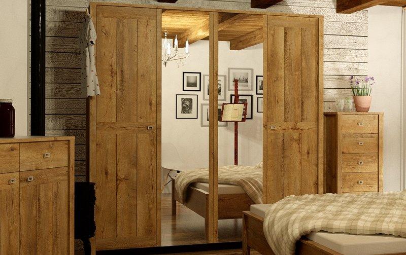 Šatní skříň s křídlovými dveřmi FARM dub Lefkas