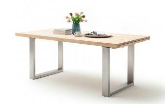 Rozkládací jídelní stůl z masivu DAYTON dub bělený/leštěná ocel