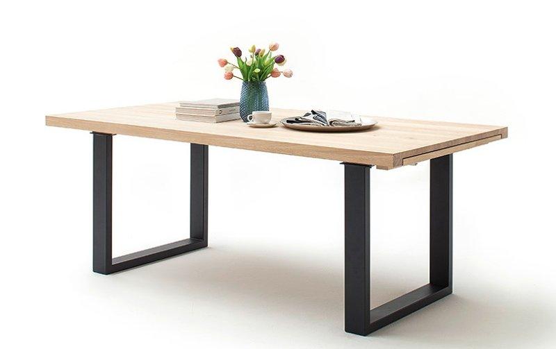 Rozkládací jídelní stůl z masivu DAYTON dub bělený/lak antracit