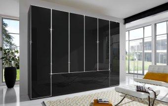Černá šatní skříň se skleněnými dveřmi EASTSIDE