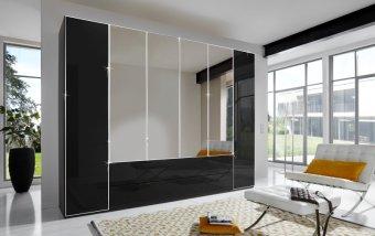 Černá šatní skříň se skleněnými dveřmi a zrcadlem EASTSIDE