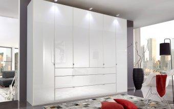 Bílá šatní skříň se skleněnými dveřmi EASTSIDE