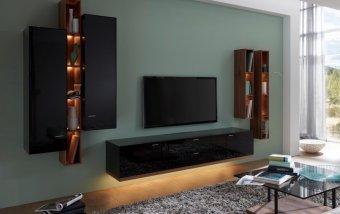 Obývací stěna MILOS 1 ořech/černé sklo