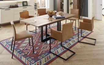 Luxusní jídelní set pro 6 osob - stůl + židle JULE pravá kůže