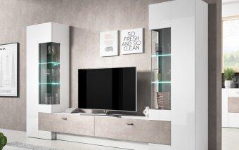 VÝPRODEJ: Moderní obývací stěna FOSSIL bílý lesk/beton Colorado