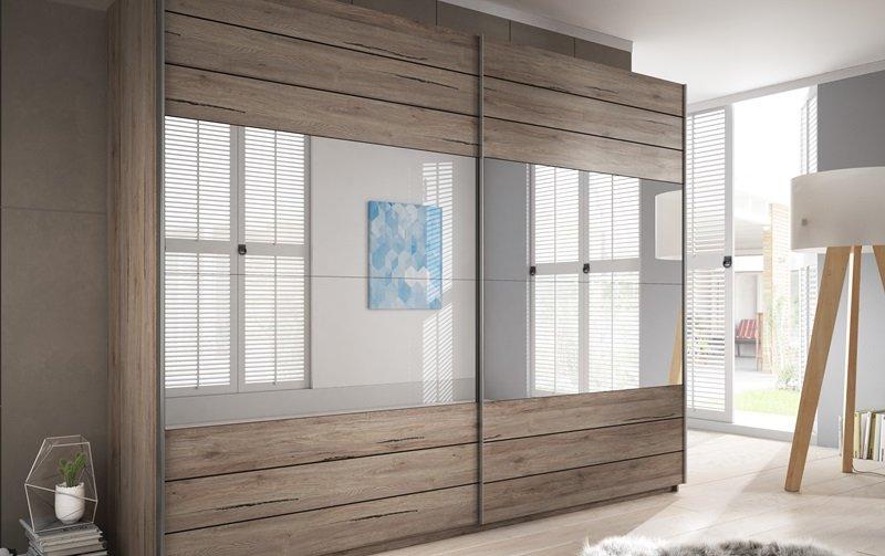 Šatní skříň s posuvnými dveřmi se zrcadlem GALAXY dub San Remo tmavý