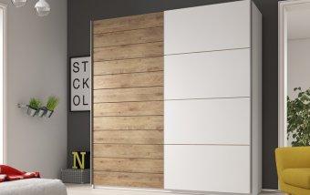Šatní skříň s posuvnými dveřmi GALAXY bílá/dub Beaufort
