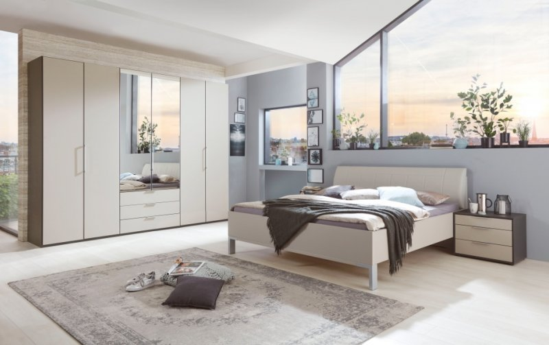 Moderní ložnice GLASGOW grafit / sklo šedý mat 2