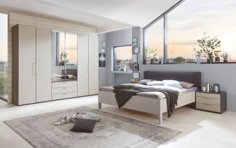 Moderní ložnice GLASGOW grafit / sklo šedý mat
