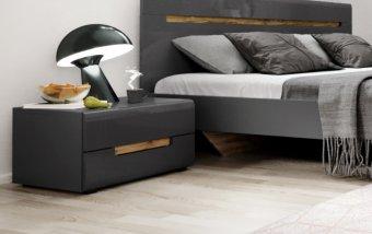 Noční stolek HEKTOR šedá/šedý lesk