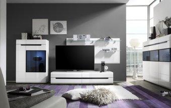 VÝPRODEJ: Obývací stěna v bílém lesku HEKTOR