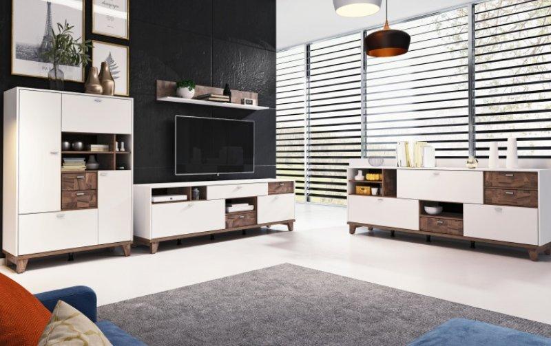 Nábytek do obývacího pokoje MOVE II bílá/ořech palazzo