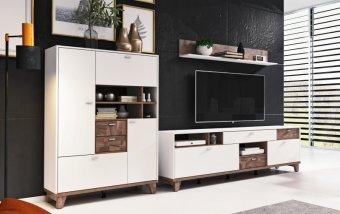 Nábytek do obývacího pokoje MOVE I bílá/ořech palazzo