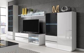 Obývací sestava TOGO bílýlesk/černé sklo