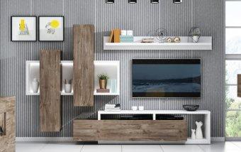 Moderní obývací stěna TAMPA bílá/dub grand canyon