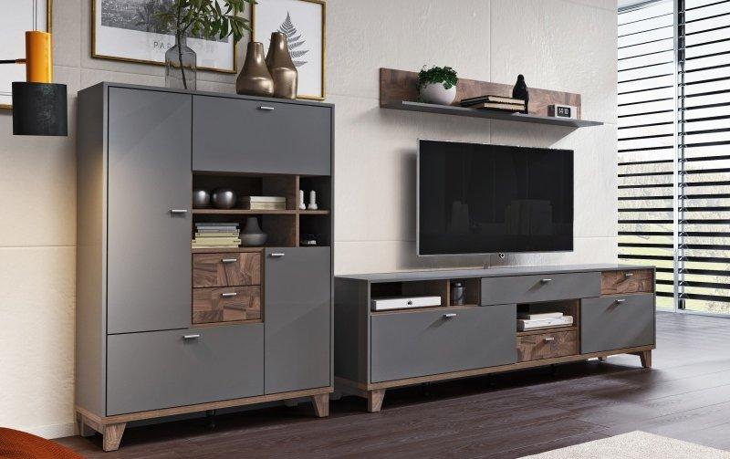 Nábytek do obývacího pokoje MOVE I šedá/ořech palazzo