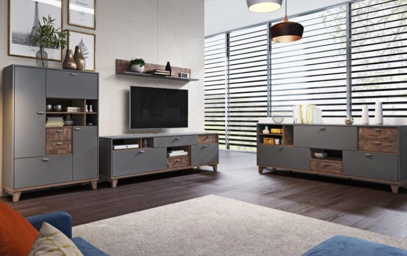 Nábytek do obývacího pokoje MOVE II šedá/ořech palazzo