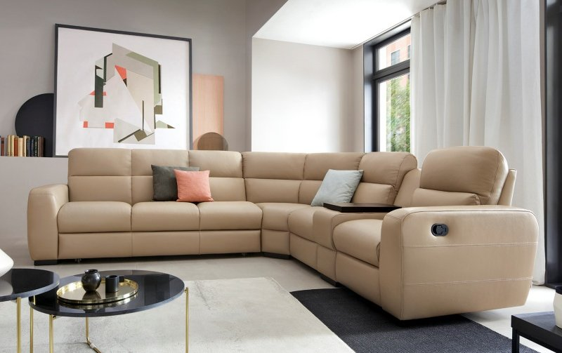 Luxusní kožená rohová sedací souprava IMPERIAL s funkcí relax