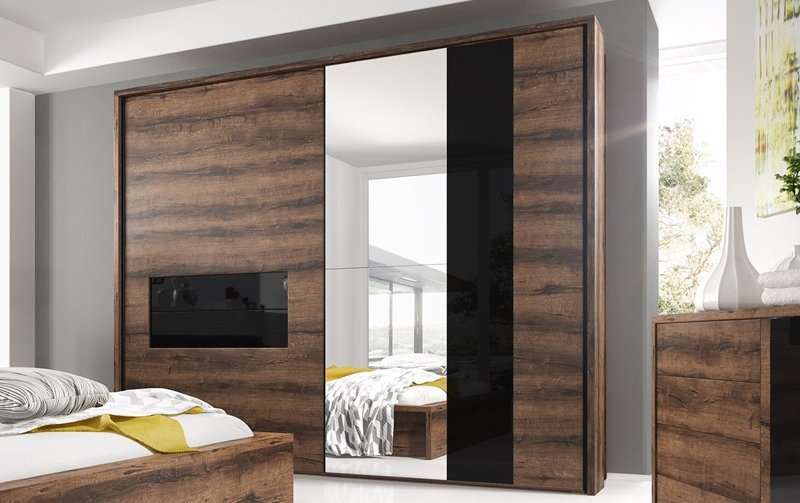 Šatní skříň s posuvnými dveřmi INDIRA dub Monastery/černé sklo
