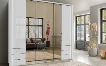VÝPRODEJ: Luxusní skříň se zrcadlem KANSAS Alpská bílá