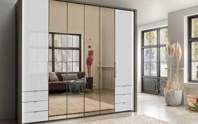 Luxusní skříň se zrcadlem KANSAS dekor Havana/bílé sklo