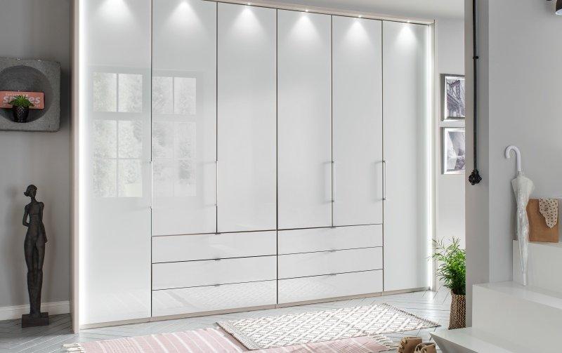 Luxusní skříň KANSAS champagne/bílé sklo