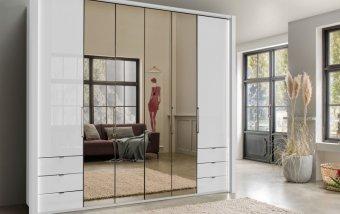 Luxusní skříň se zrcadlem KANSAS Alpská bílá