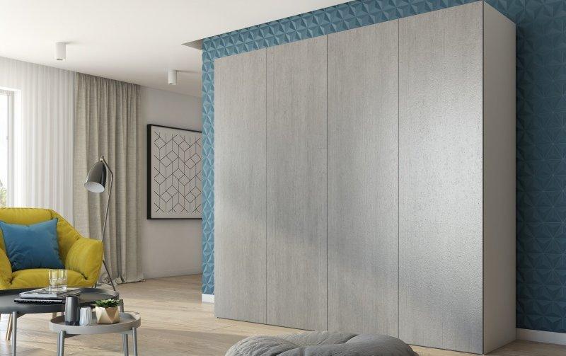 Šatní skříň se skládacími dveřmi KIRSTEN bílá/beton colorado