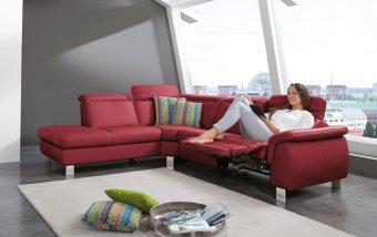 Kožená rohová sedací souprava LAVA 3 s funkcí relax