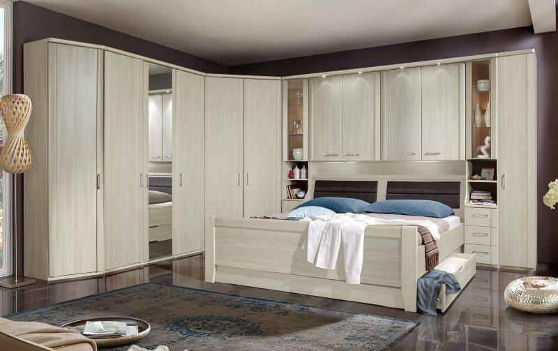 Moderní ložnice s nástavbou nad postelí LUXOR jasan