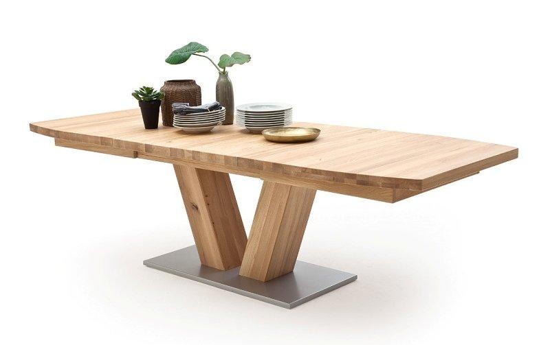 Rozkládací jídelní stůl z masivu MANAGUA B dub bělený