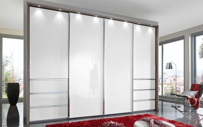 Šatní skříň MALIBU bílé sklo/dub Truffel