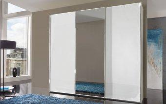 Šatní skříň se zrcadlem MALIBU alpská bílá