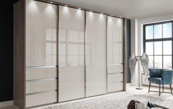 Šatní skříň s posuvnými dveřmi MALIBU dub Trueffel/sklo Champagne