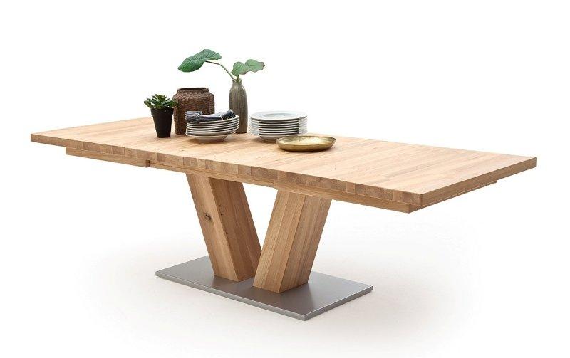 Rozkládací jídelní stůl z masivu MANAGUA A dub bělený