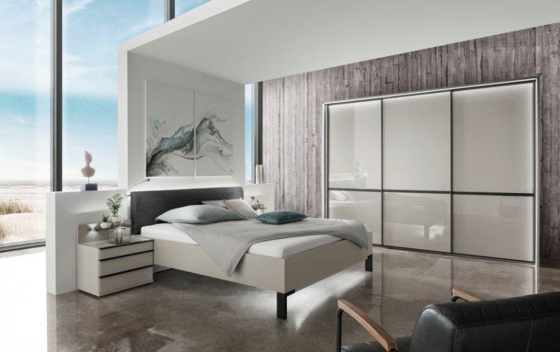 Moderní ložnice MONTREAL šedá/sklo šedý lesk