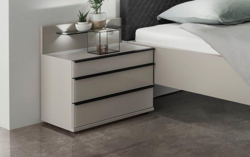 Noční stolek MONTREAL šedá/sklo šedý lesk