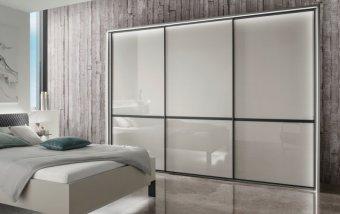 Šatní skříň s posuvnými dveřmi MONTREAL šedá/sklo šedý lesk