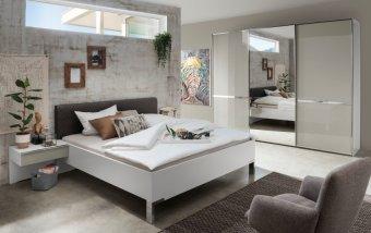 Moderní ložnice MONTREAL bílá/sklo šedý lesk