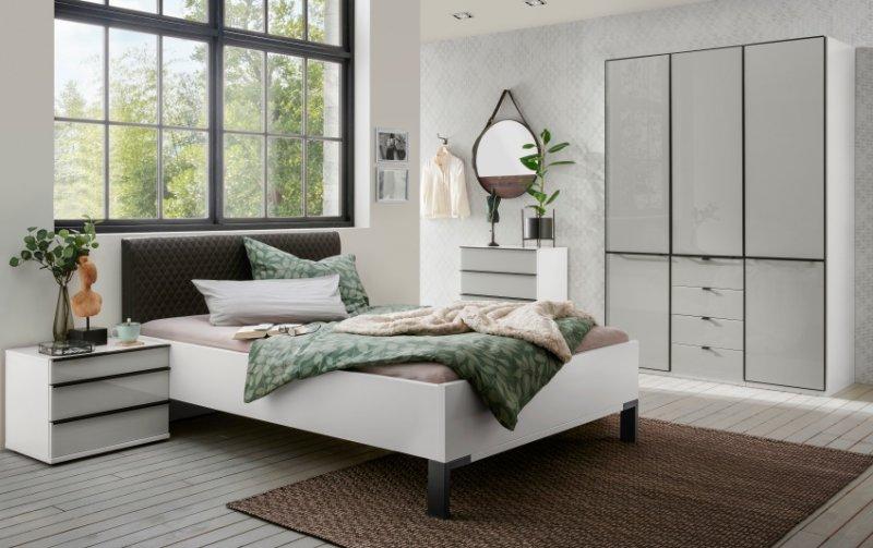 Moderní ložnice pro jednu osobu MONTREAL bílá/sklo šedý lesk