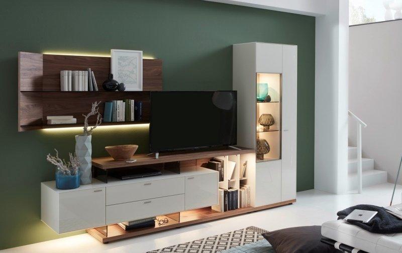 Obývací stěna MILOS 2 ořech/bílésklo