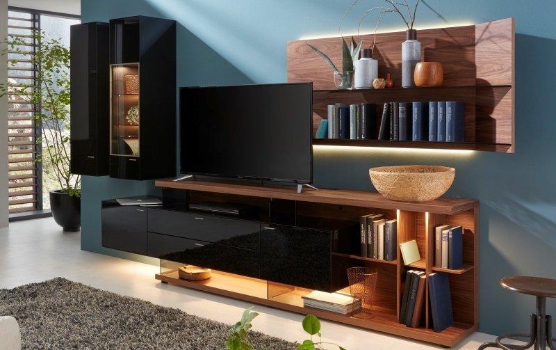 Obývací stěna MILOS 2 ořech/černé sklo