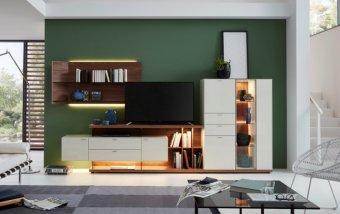 Obývací stěna MILOS 1 ořech/bílé sklo