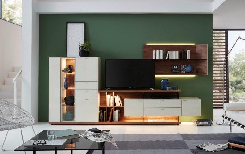 Obývací stěna MILOS 1 ořech/bílésklo