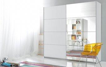 Šatní skříň s posuvnými dveřmi se zrcadly Avery/BETA 2 - BÍLÁ