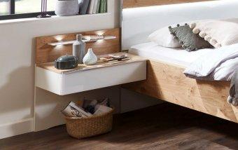 Noční stolek AMARILLO bílá LESK/dub balken