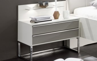Noční stolek CADIZ bílá/šedá